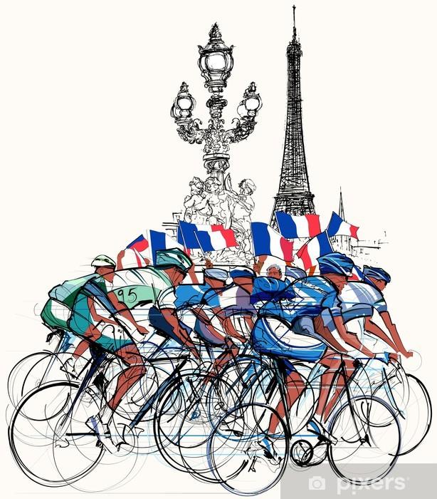Papier peint vinyle Paris - cyclistes en compétition - Vélos