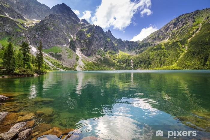 Vinil Duvar Resmi Polonya'da güzel Tatra Dağları sahne ve göl -