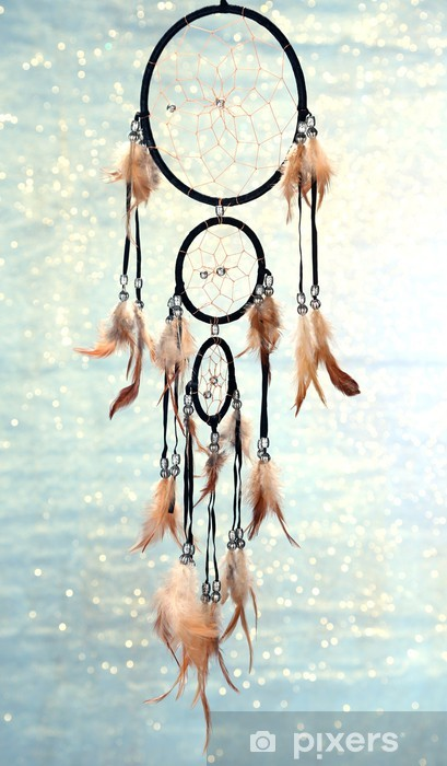 Beautiful dream catcher on blue background with lights Vinyl Wall Mural - Other objects