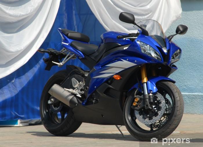 Papier peint vinyle Moderne moto sportive de couleur bleu foncé. - Sur la route