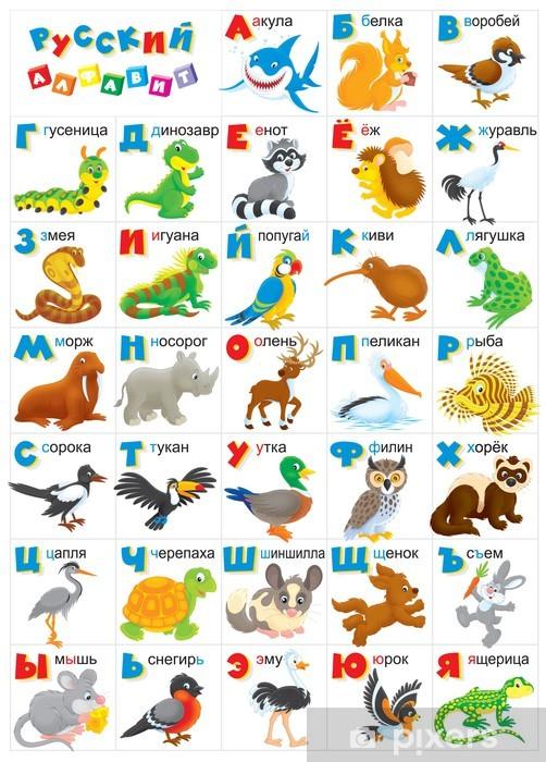 Fototapeta winylowa Rosyjski alfabet z cartoony zwierząt - Edukacja