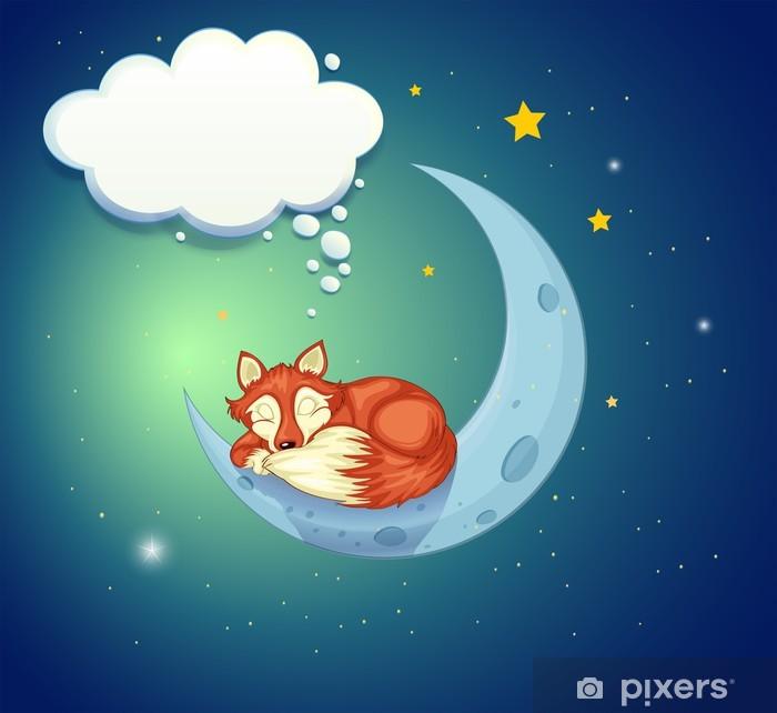 Vinil Duvar Resmi Ay üzerinde uyuyan bir tilki - Hayali hayvanlar