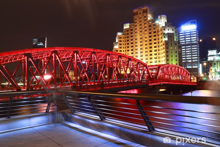 Sticker Pixerstick Pont de jardin à Shanghai Bund nuit - Villes d'Asie