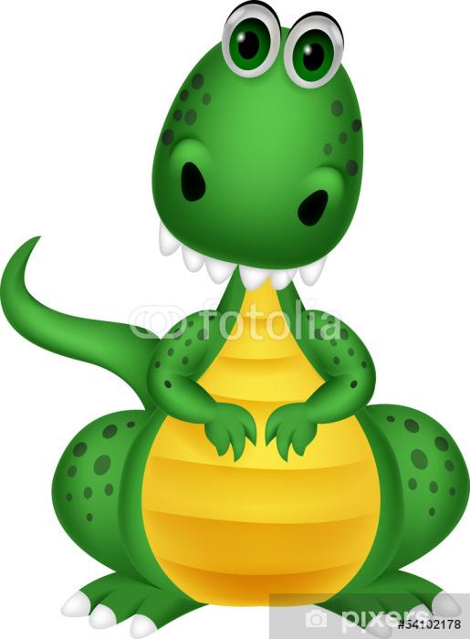 Fotomural Estándar Cute dibujos animados dragón verde - Vinilo para pared