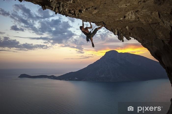 Male rock climber at sunset. Kalymnos Island, Greece Vinyl Wall Mural -