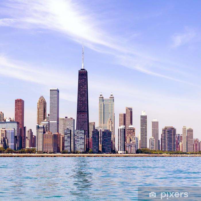 Naklejka Pixerstick Chicago skyline z błękitne niebo jasne - Tematy
