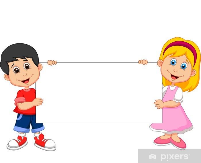 b27e24b5b7747c Sticker Jongen en meisje bedrijf blanco teken • Pixers® - We leven ...