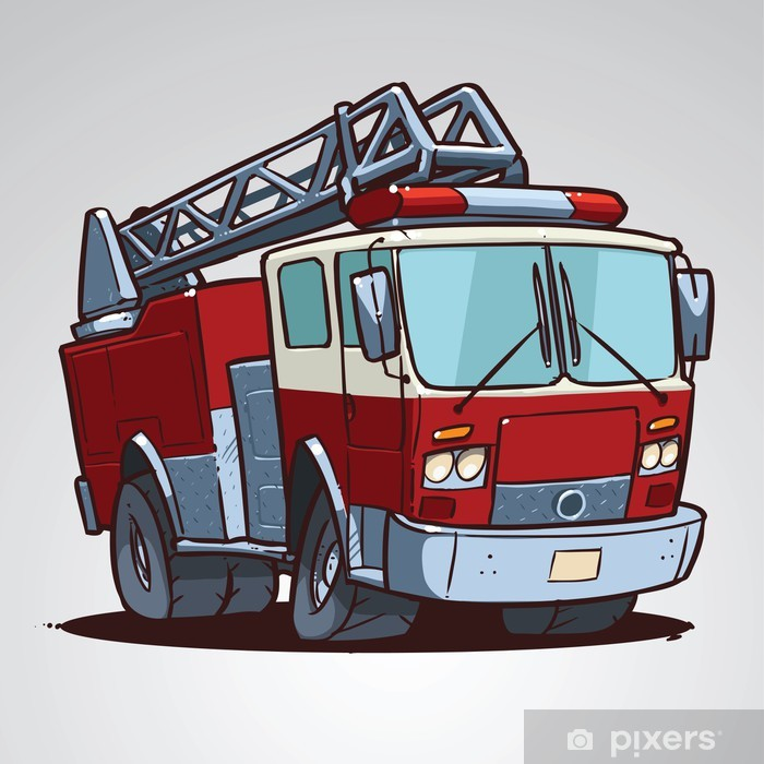 Cartoon fire truck isolated Vinyl Wall Mural - On the Road