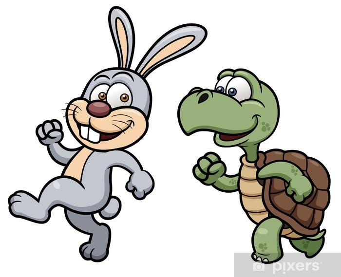 Karikatür Tavşan Ve Kaplumbağa Vektör çizim çıkartması Pixerstick