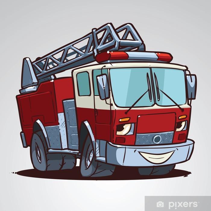 Sticker Personnage De Dessin Animé Camion De Pompier Isolé Pixerstick