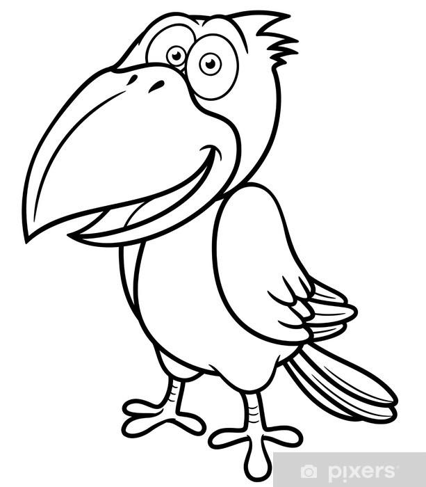 Karikatur Karga Vector Illustration Boyama Kitabi Cikartmasi