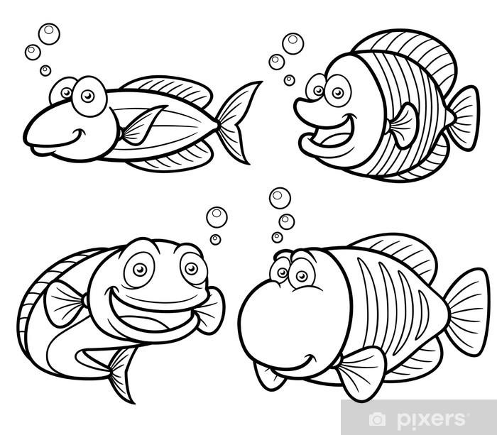 Deniz Baligi Setinin Vector Illustration Boyama Kitabi