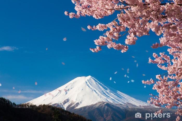 富士山と舞い散る桜 Pixerstick Sticker - Themes