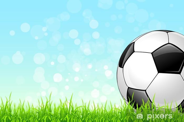 Fotomural Estándar Balón de fútbol en la hierba verde de fondo - Fondos 34a828ce9b66d
