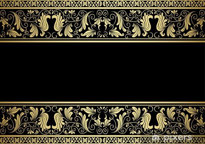 Vinilo Pixerstick Marco dorado con elementos decorativos - Texturas