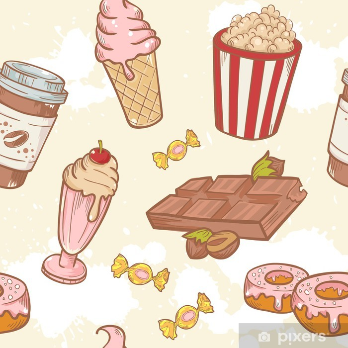 Fastfood sweets delicious hand drawn vector seamless pattern Pixerstick Sticker - Meals