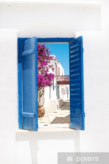 Traditional greek window on Sifnos island, Greece Pixerstick Sticker - Themes