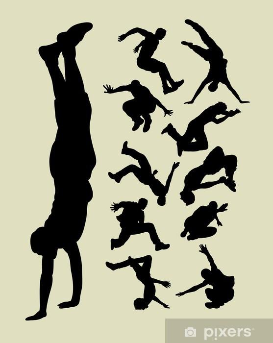 Vinyl Fotobehang Parkour silhouetten - Team sport