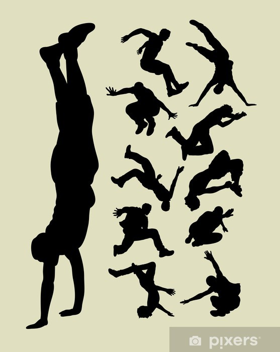 Parkour Silhouettes Vinyl Wall Mural - Team Sports