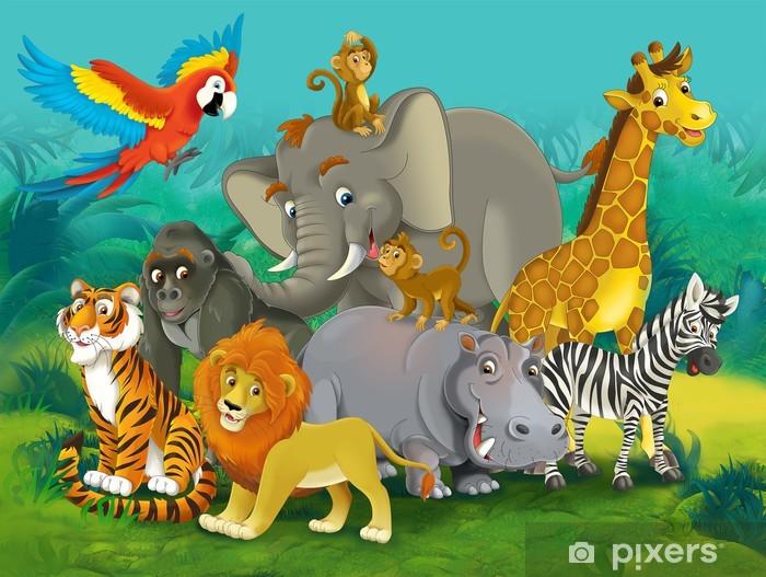 Cartoon Safari Illustration For The Children Wall Mural