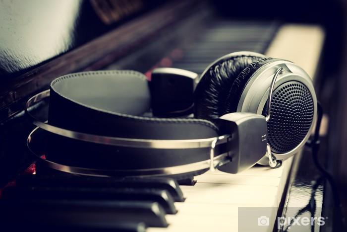 Naklejka Pixerstick Piano klawiatury i słuchawki - Jazz
