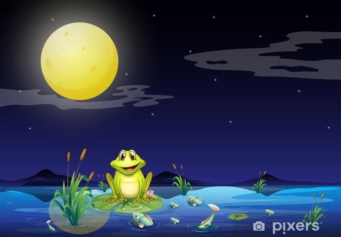Papier peint vinyle Grenouille et poissons au bord du lac sous la pleine lune lumineuse - Pour enfant de 5 ans