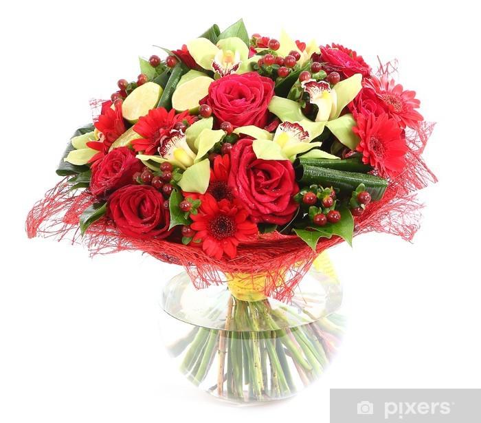 Papier peint vinyle Composition florale en verre, vase transparent: roses rouges, orchidée - Fleurs