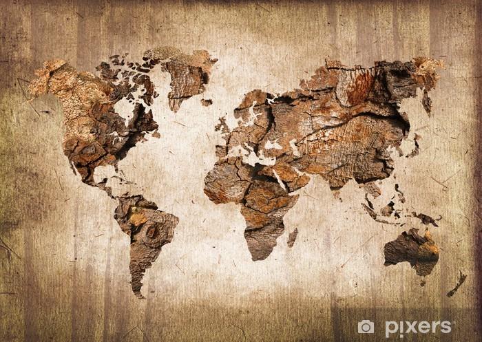 Papier peint vinyle Carte du monde vintage en bois - Thèmes
