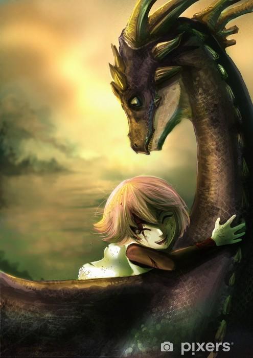 Papier peint vinyle Une fille minable étreint son dragon de bonheur - Thèmes