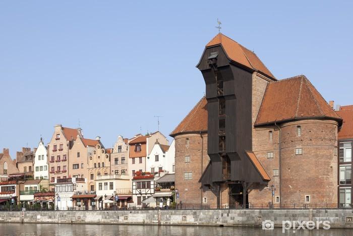 Papier peint vinyle La grue du port médiéval sur la rivière Motlawa Gdansk, en Pologne - Thèmes