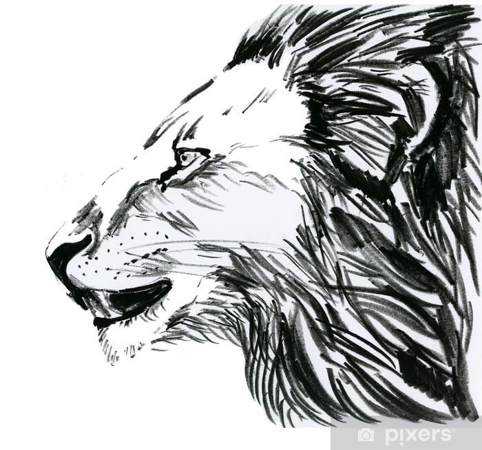 Poster Lion, лев в профиль - Säugetiere