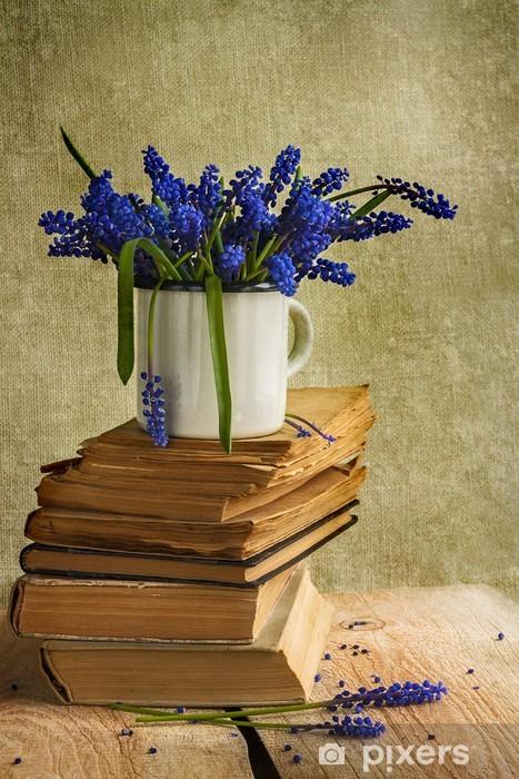 bouquet hyacinth flowers books vintage wooden Pixerstick Sticker - Education