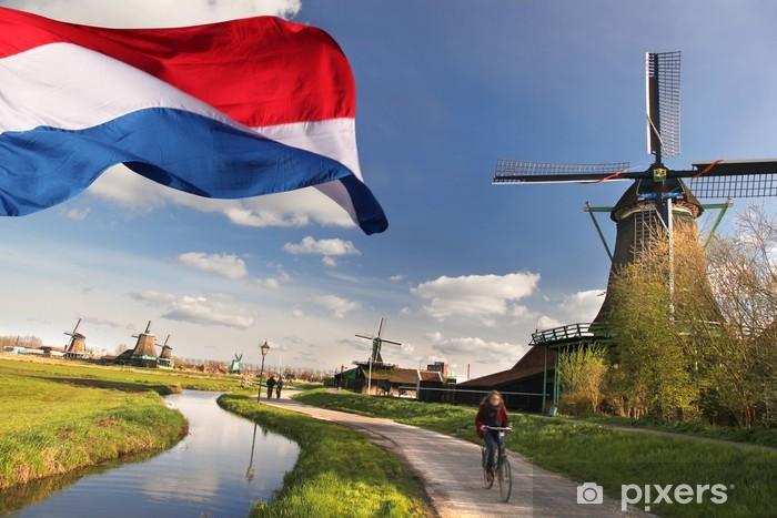 Sticker Pixerstick Moulins à vent avec le drapeau de la Hollande en Zaanse - Villes européennes