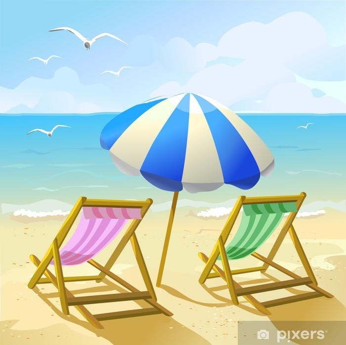 Disegni Di Spiaggia E Ombrelloni.Carta Da Parati Spiaggia Con Ombrellone E Due Sedie A Sdraio