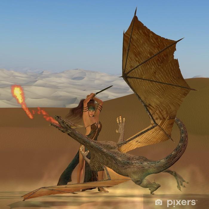 Pixerstick Sticker Sleedoorn Warrior Kills Dragon - Draken