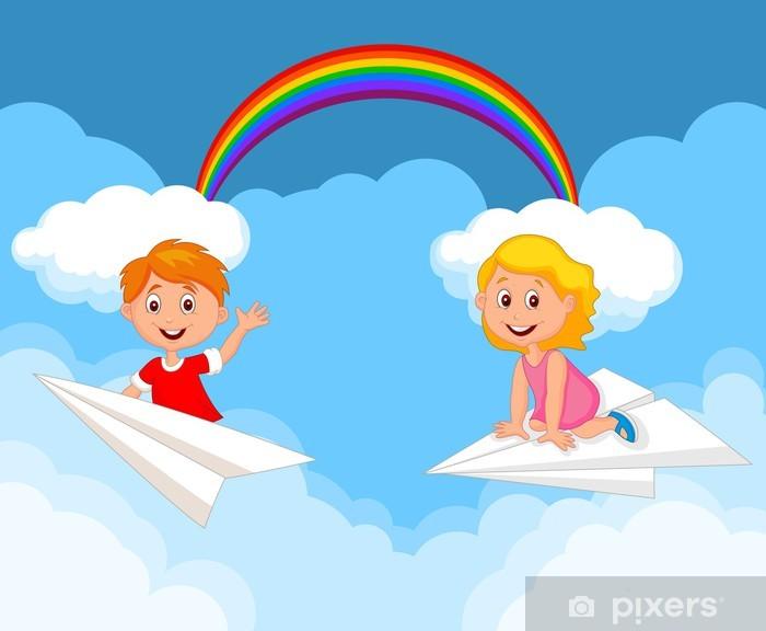Carta da parati bambini cartone animato su un aeroplano di carta
