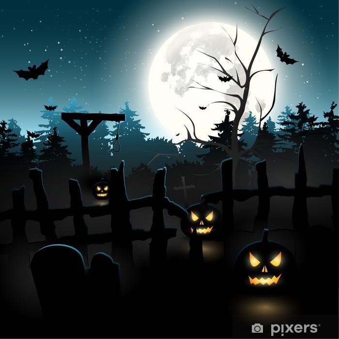 Scary graveyard at night - Halloween background Framed Poster - International Celebrations
