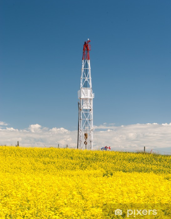 Drilling rig in the canola field Vinyl Wall Mural - Ecology