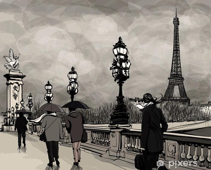 Fotomural Estándar Dibujo del puente de Alejandro III en París, que muestra la torre Eiffel - Temas