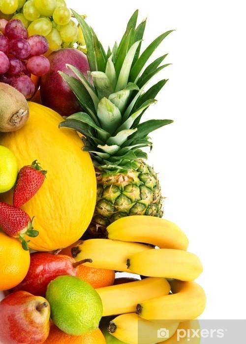 Naklejka Pixerstick Zestaw owoców samodzielnie na białym tle - Owoce