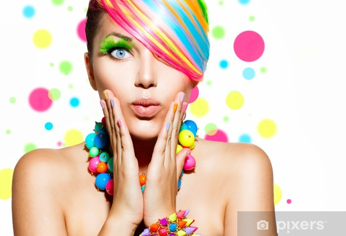 Beauty Girl Portrait with Colorful Makeup, Hair and Accessories Pixerstick Sticker - Themes