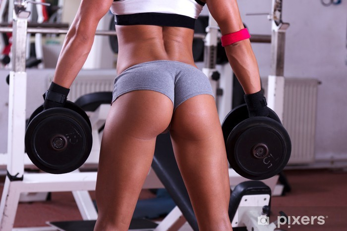 Very sexy young beautiful ass in thong at gym club Vinyl Wall Mural - Health