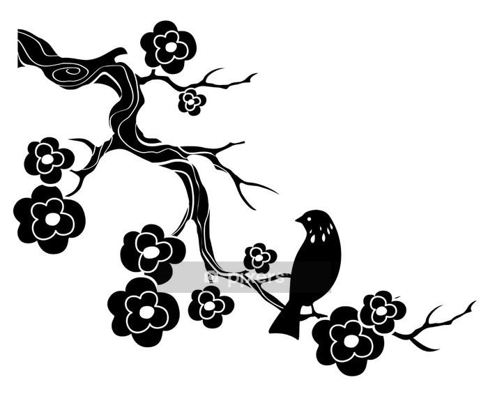 Naklejka na ścianę Ptak na gałązka z kwiatami - Naklejki na ścianę