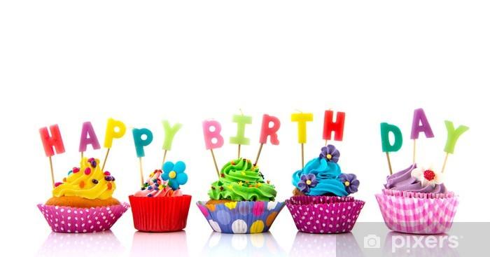 Adesivo Colorati Cupcakes Buon Compleanno Pixers