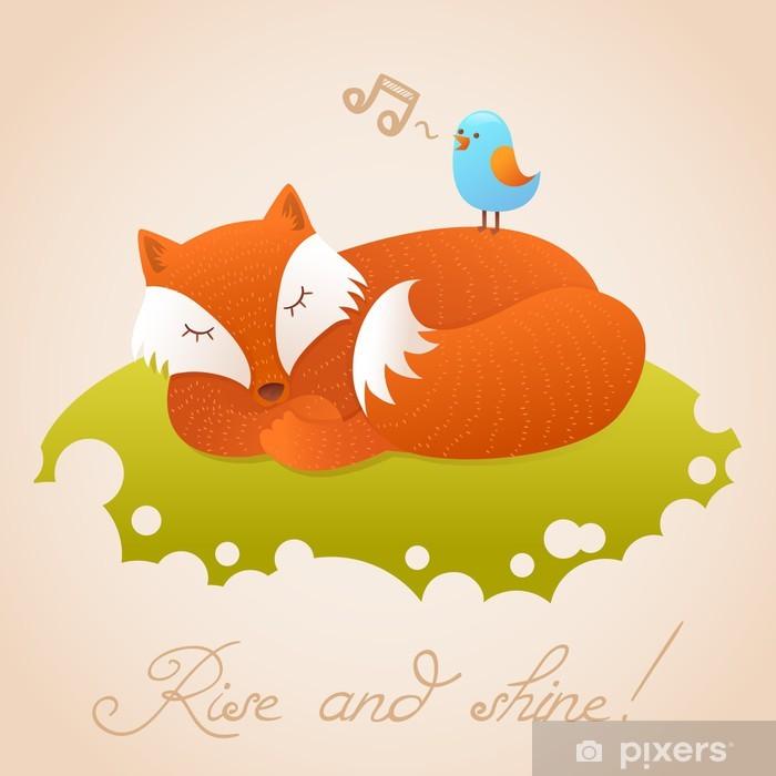 Sticker Pixerstick Carte de bébé mignon avec dormir renard roux - Animaux imaginaires