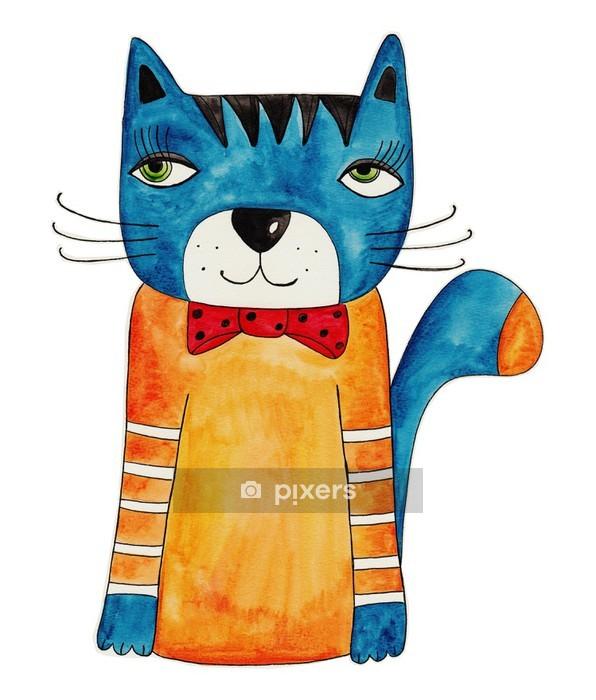 Duvar Çıkartması Kedi. Yapıt, mürekkep ve kağıt üzerinde suluboya - Memeliler