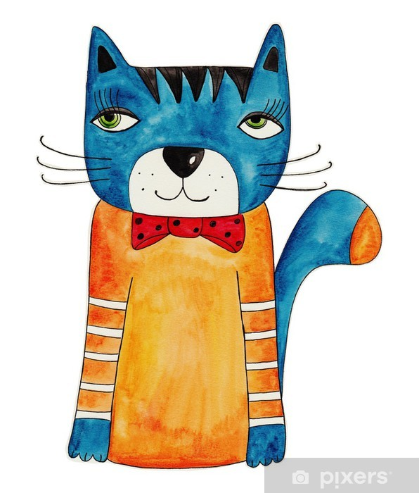 çıkartması Kedi Yapıt Mürekkep Ve Kağıt üzerinde Suluboya Pixerstick