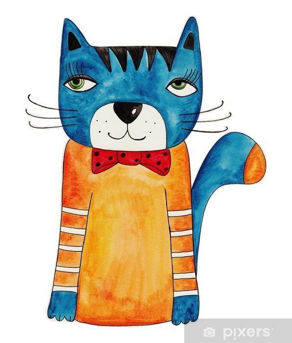 Nálepka Pixerstick Cat. Umělecké dílo, inkoust a vodové barvy na papíře - Savci