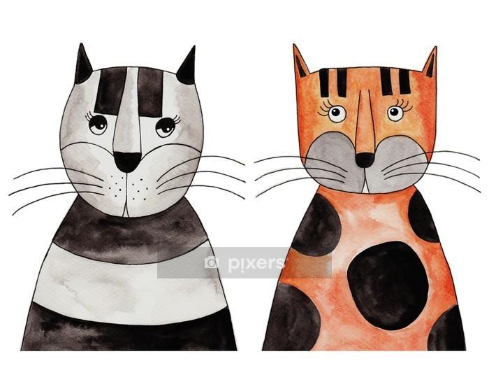 Muursticker Cats. Kunstwerk, inkt en aquarel op papier - Andere Andere