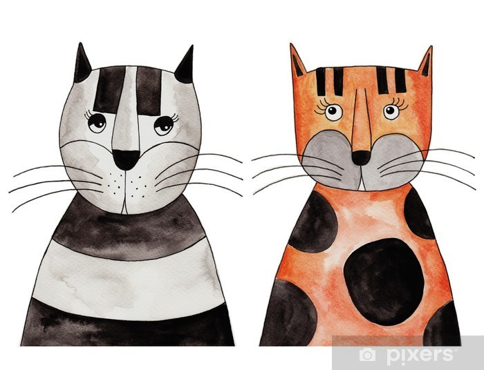 Cats. Artwork, ink and watercolors on paper Pixerstick Sticker - Other Other